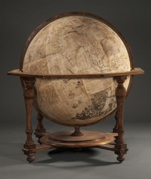 The Coronelli terrestrial globe, commissioned in 1681 by French King Louis XIV, waits to be photographed for an interactive online project. Photo by Pete Smith.