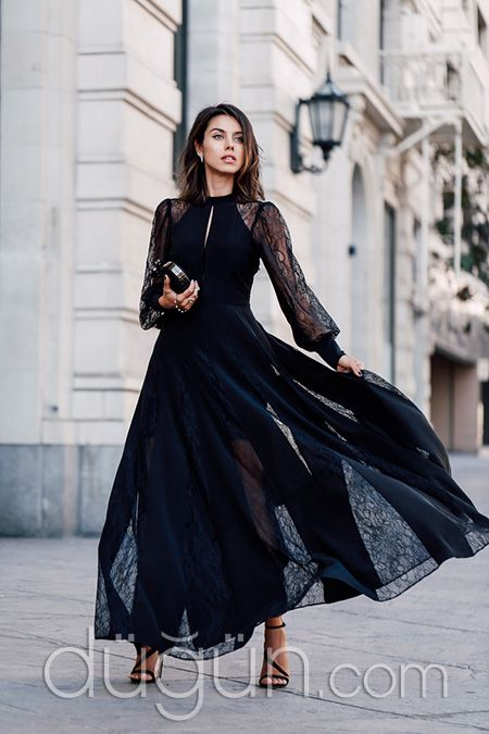 Elbise Damemode Abiye Ve Siyah Kollu Tøj Uzun Kjoler q6U1w1