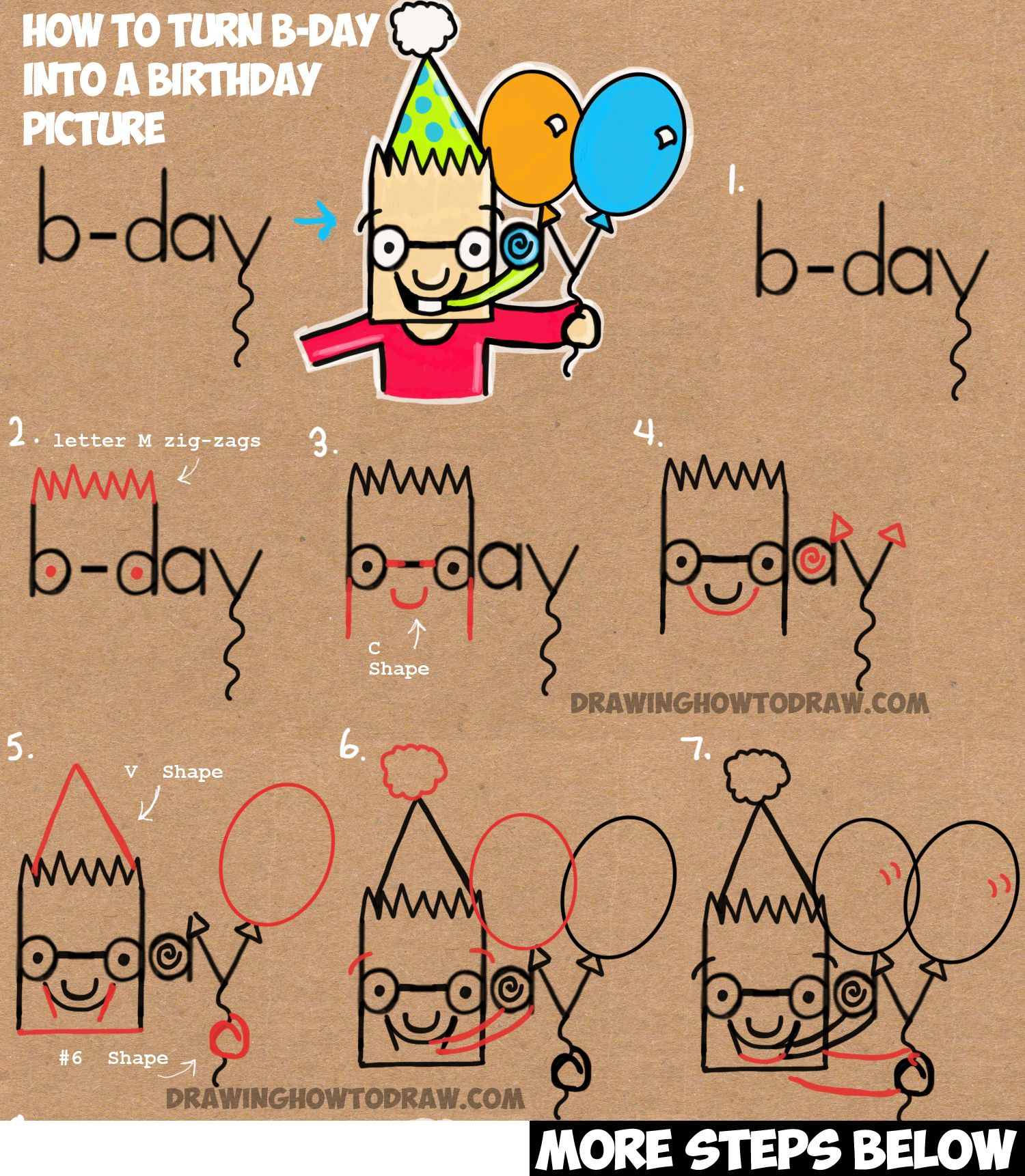 How To Draw Cartoon Boy Celebrating Birthday & Holding Balloons From The  Word Bday