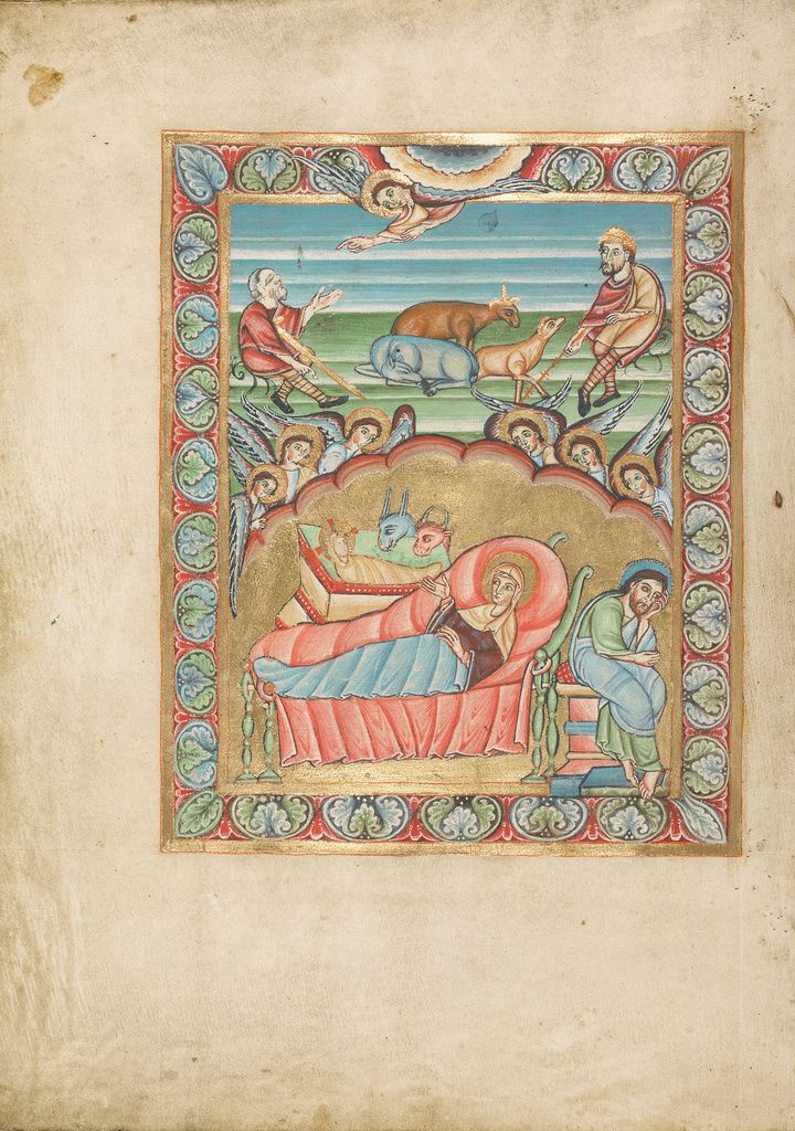 The Nativity Unknown Mainz Germany About 1025 1050 Tempera Colors And Gold On Parchment Ms Ludwig V 2 Fol 1 Getty Museum Ottonian The Nativity Story