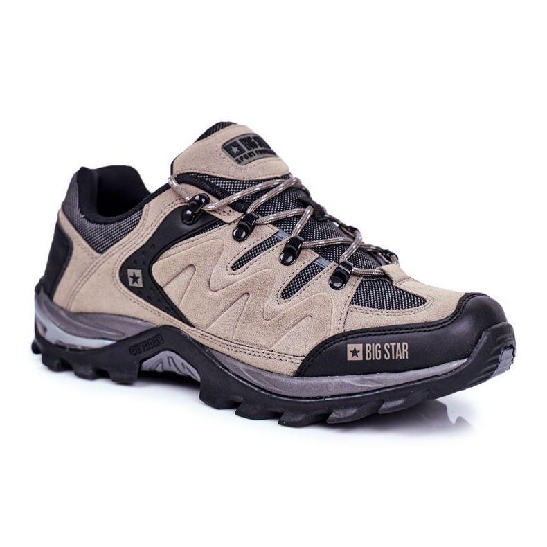 Trekkingowe Meskie Buty Big Star Outdoor Gg174281 Bezowy Czarne Szare Boots Hiking Boots Shoes