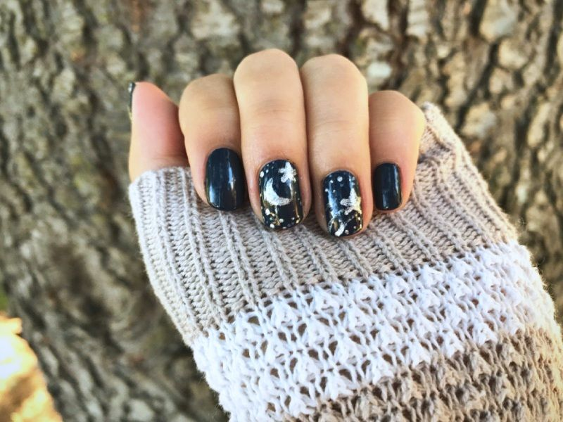Moon Stars Nail Art With Wet N Wild Silvivor Pacifica Tempest