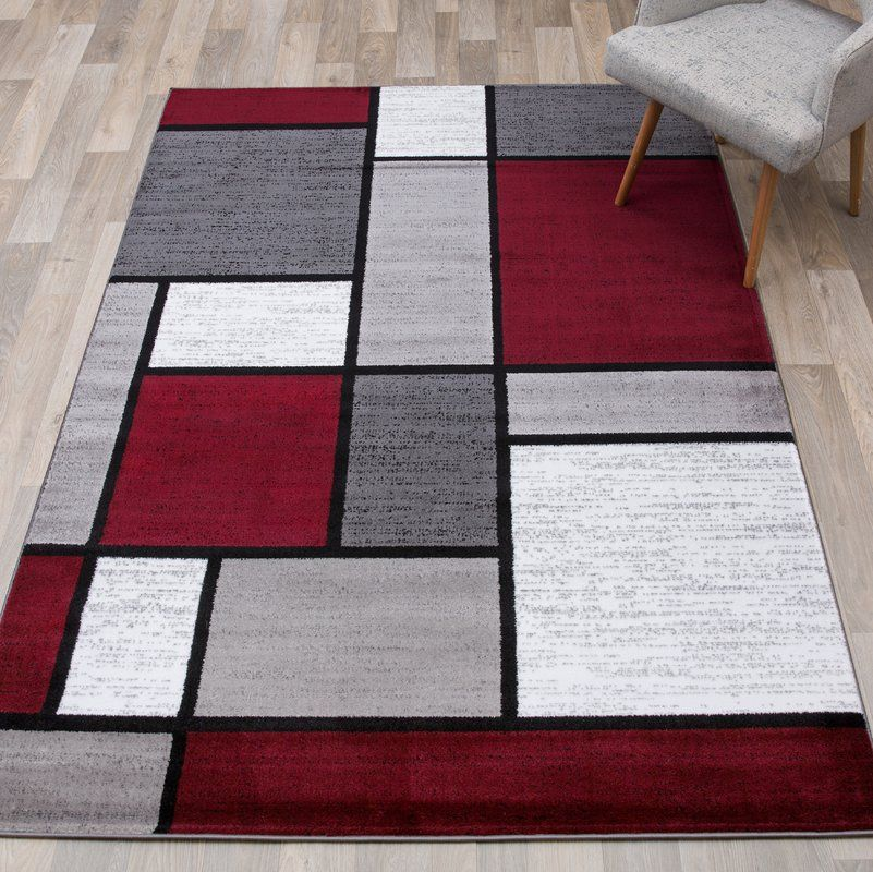 Brampt Geometric Red Area Rug With Images Grey And Red Living