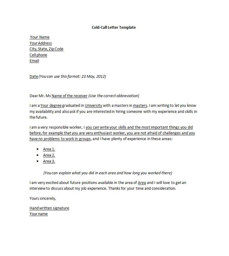 Cold Call Cover Letter Sle Cover Letter For Cold