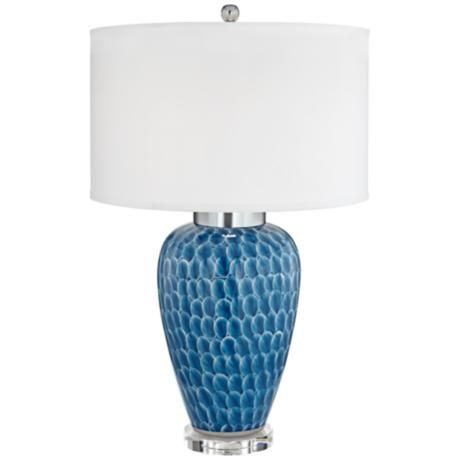 North shore deep blue glaze ceramic table lamp 1k772 lamps plus