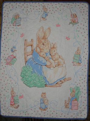 Beatrix Potter Peter Rabbit Thin Quilt Baby Blanket Blue