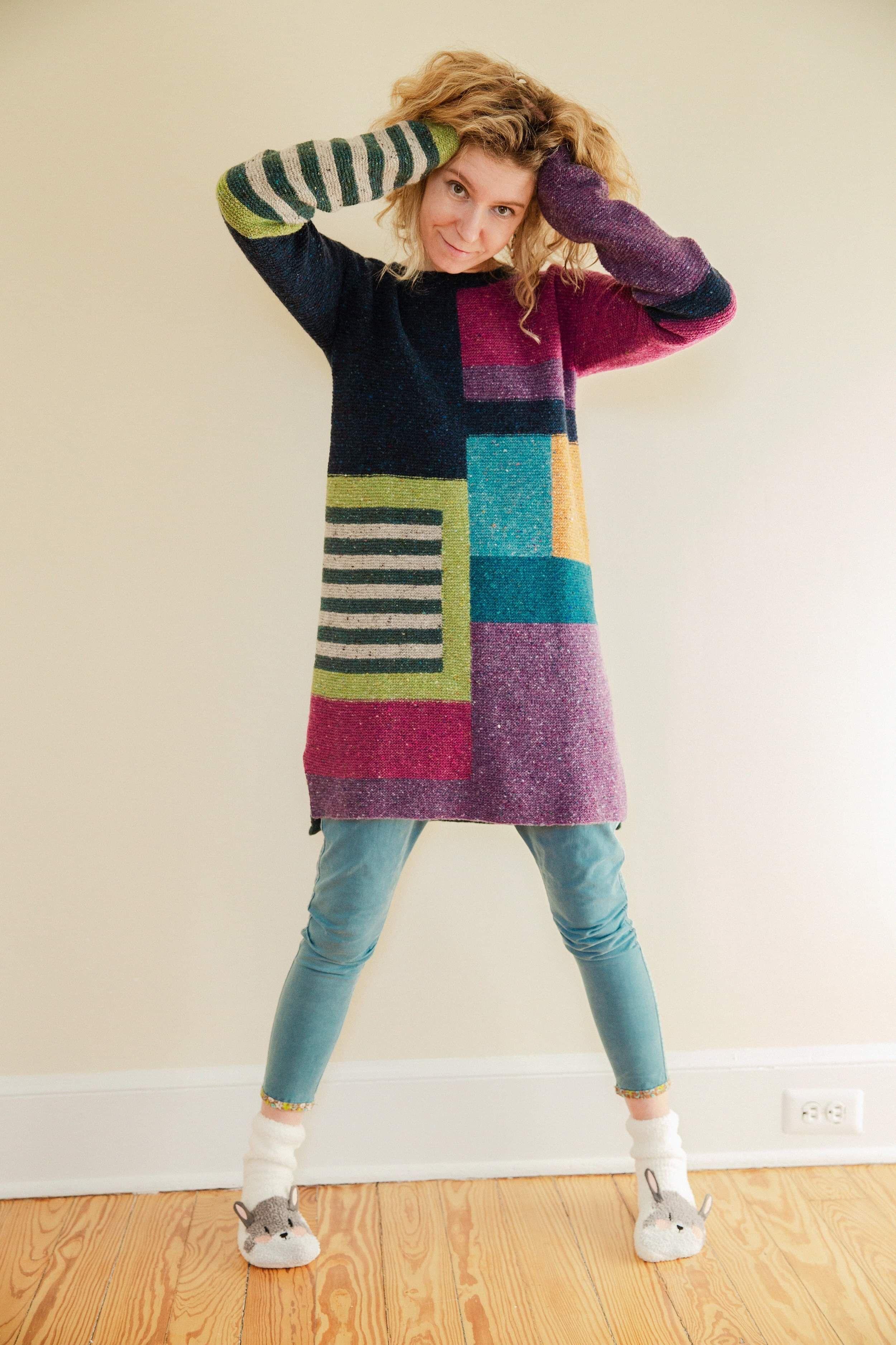 Wool Sweater Long Sweater Colorblock Dress Knitted Dress Size Xs S Knitting Designs Handmade Knitting Wool Sweater Dress [ 3750 x 2500 Pixel ]
