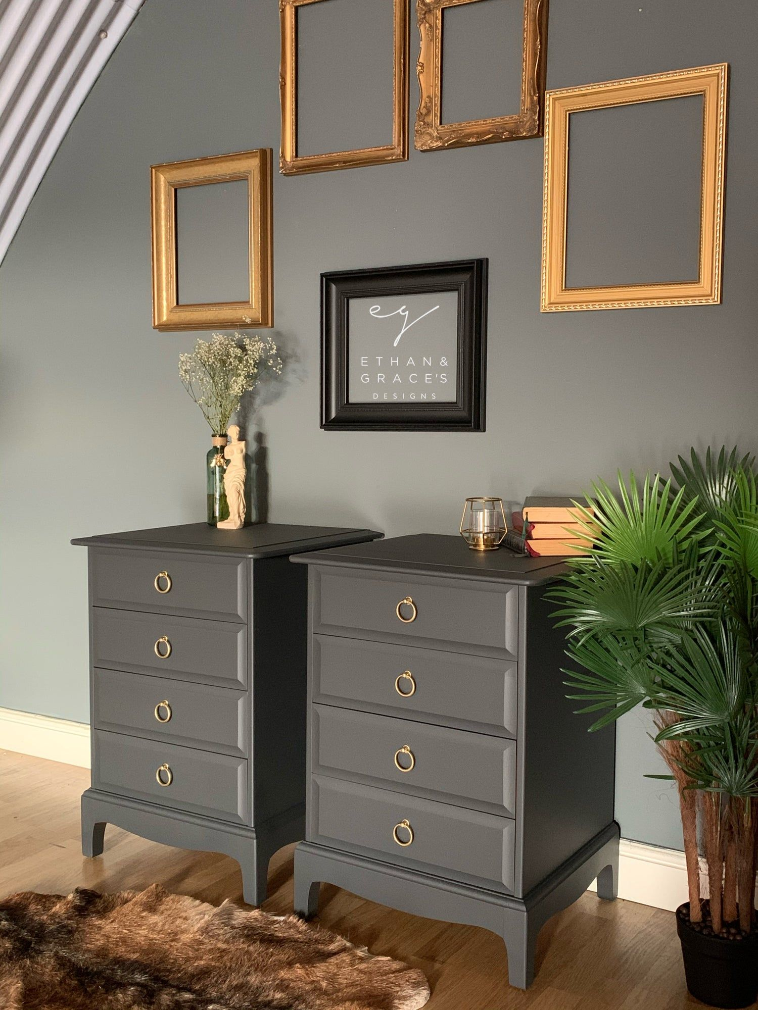 Light Grey Bedside Table: A Pair Of Dark Grey Stag Mahogany Bedside Tables In 2020