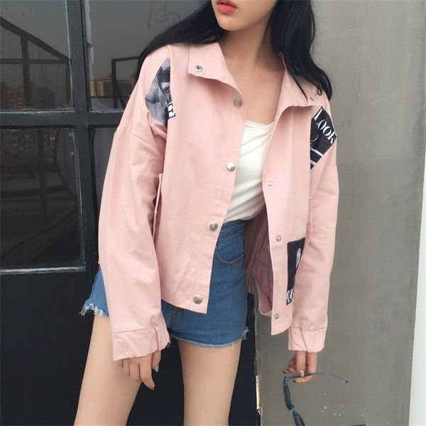 Shopherd Buttoned Printed Jacket ❤ liked on Polyvore featuring outerwear, jackets, pink jacket and button jacket