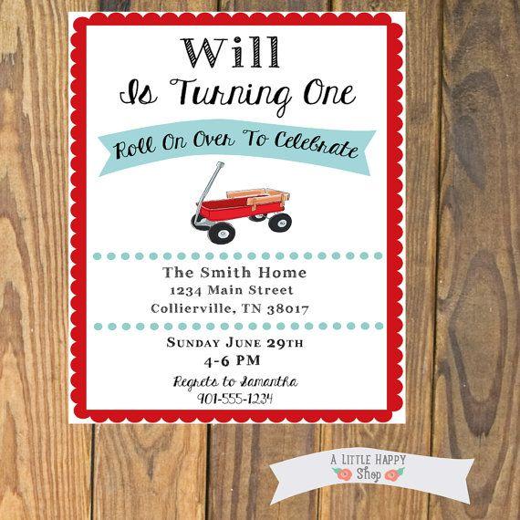 Little Red Wagon Birthday Party Invitation by ALittleHappyShop, $13.00