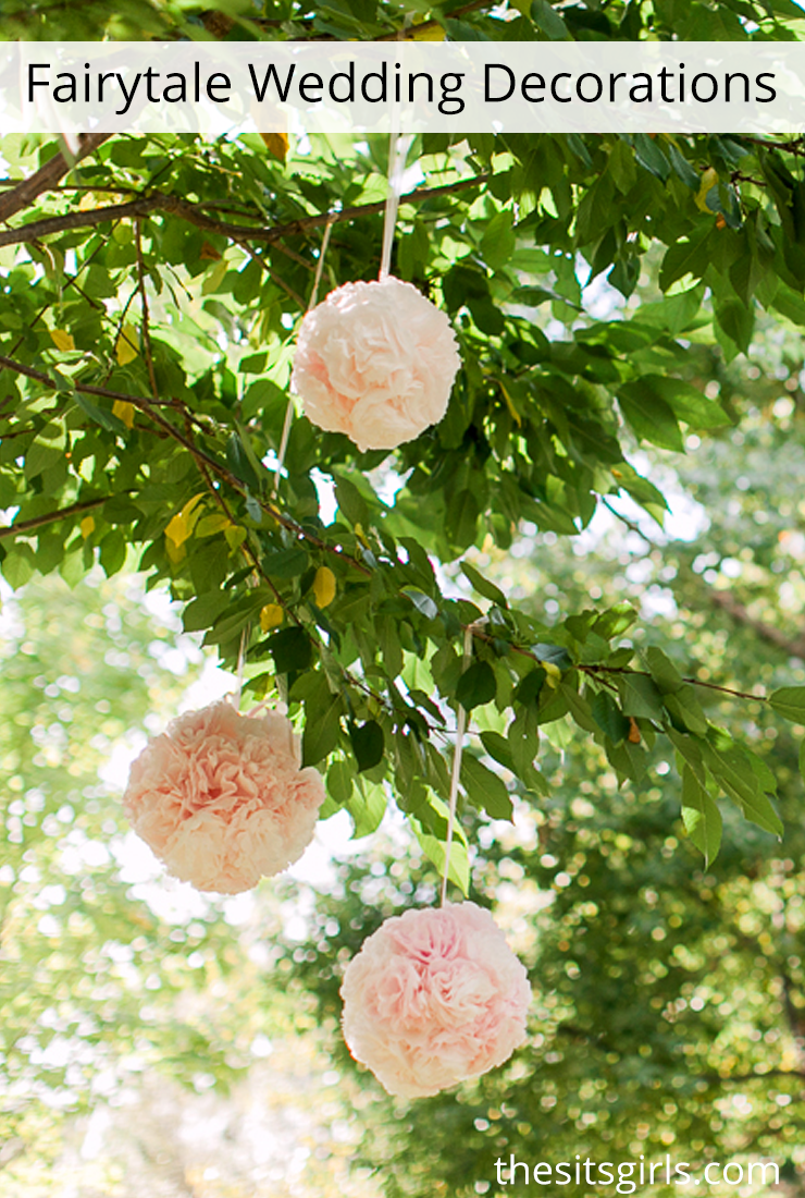 Fairytale Wedding Decor Love How Pretty These Flower Balls Look Hanging From The Trees Flower Ball Diy Flower Ball Flowers