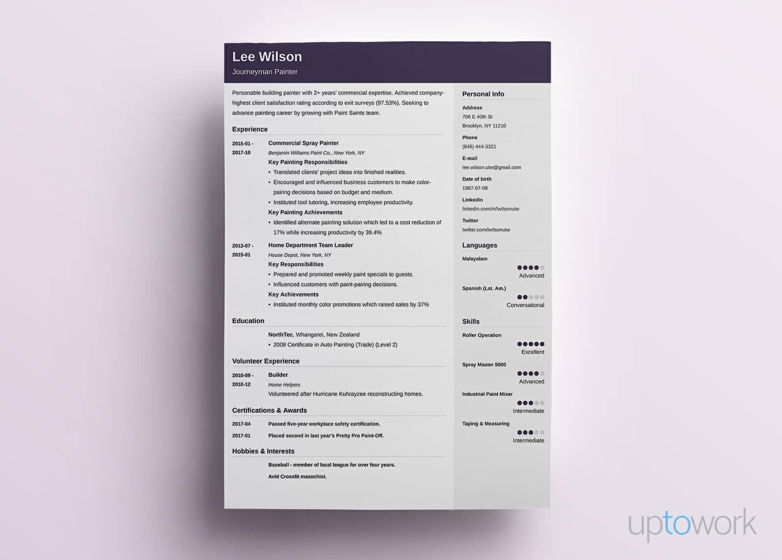 Good Resume Example In Purple  Zentangle