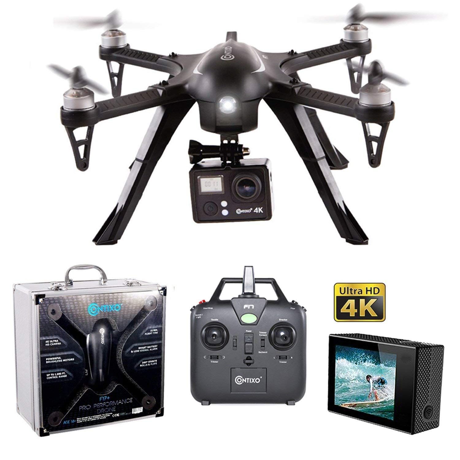 Photo of Contixo F17 RC Quadcopter Photography 4K Ultra HD 16MP Drone with Camera for Adult – Brushless Motors – 1 High Capacity Battery – Drone That can Hold a Gopro-Aluminum Hard Case