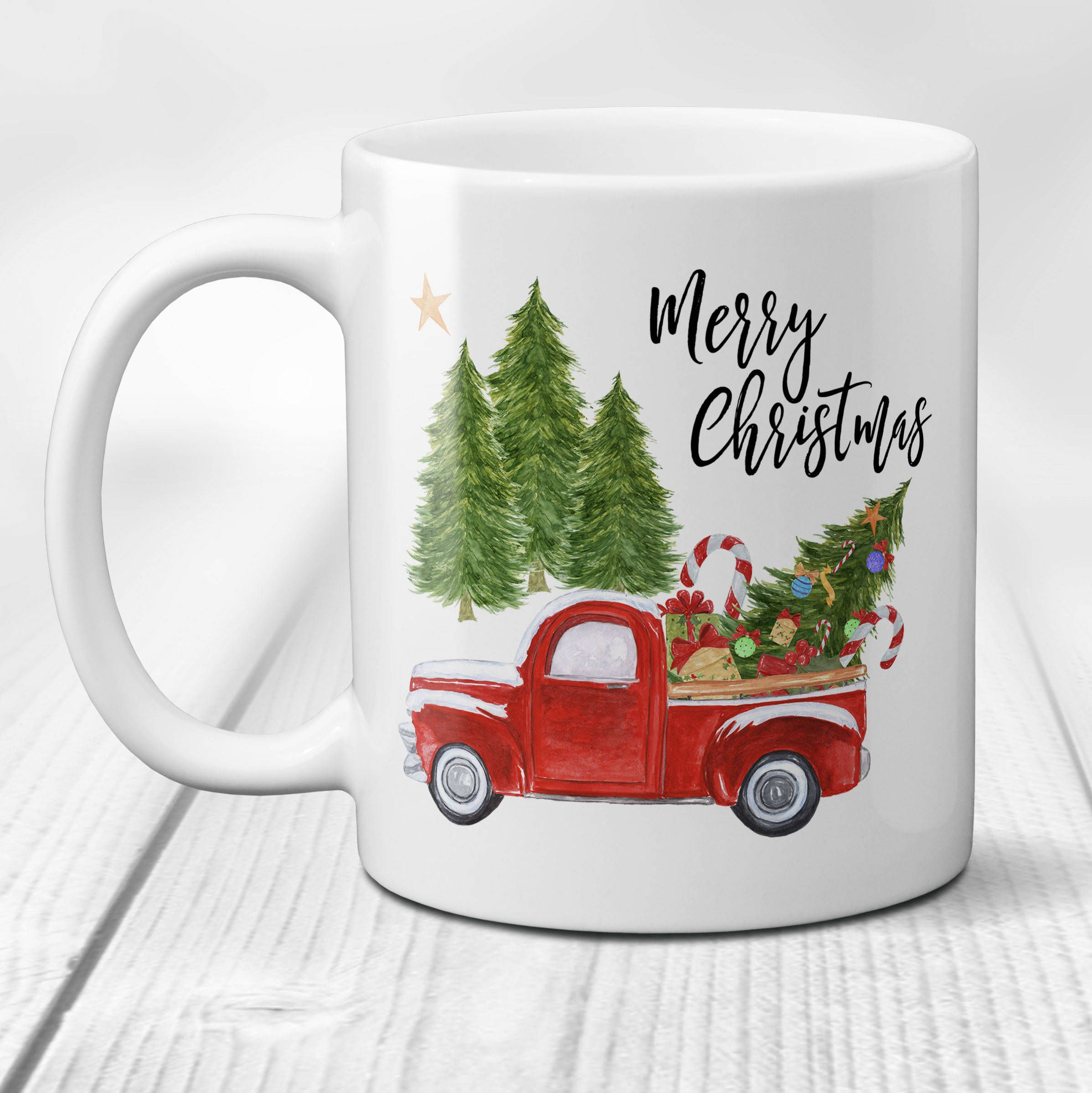 Red Christmas Truck Ceramic Coffee Mug, Merry Christmas