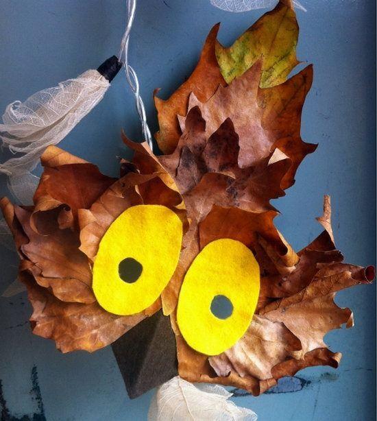 Mascara de búho con hojas secas   Manualidades Infantiles
