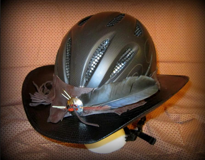 Another Great Idea A Hellhat Combining A Cowboy Hat With A Helmet And It Looks Good The Best Part You Can Make O Cowboy Hats Helmet Horse Riding Helmets
