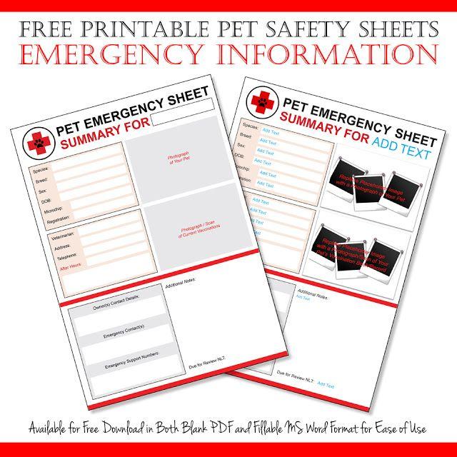 Free Emergency Pet Information Sheet Printables Disaster - emergency response plan template