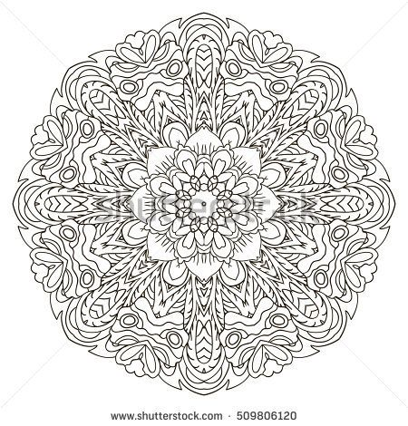 Mandala. Oriental coloring ornament relaxing. Doodle Round