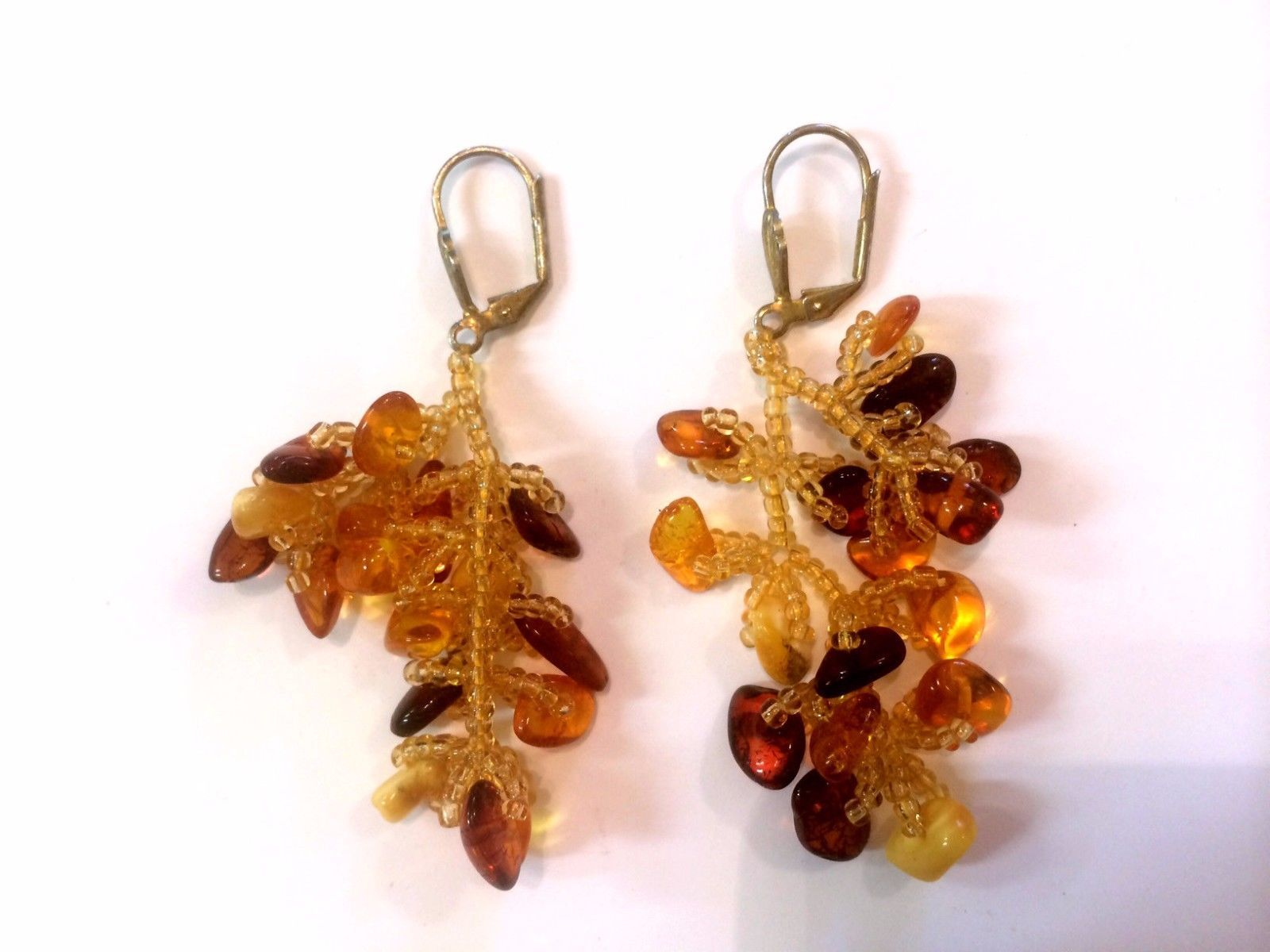 Vintage Genuine Amber And Seed Beads Dangle Chandelier Earrings