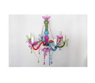 L mpara ara a de acr lico y metal multicolor 6 brazos for Objetos de decoracion online