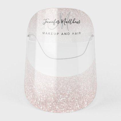 Rose Gold Glitter Pink Monogram Logo Salon COVID F