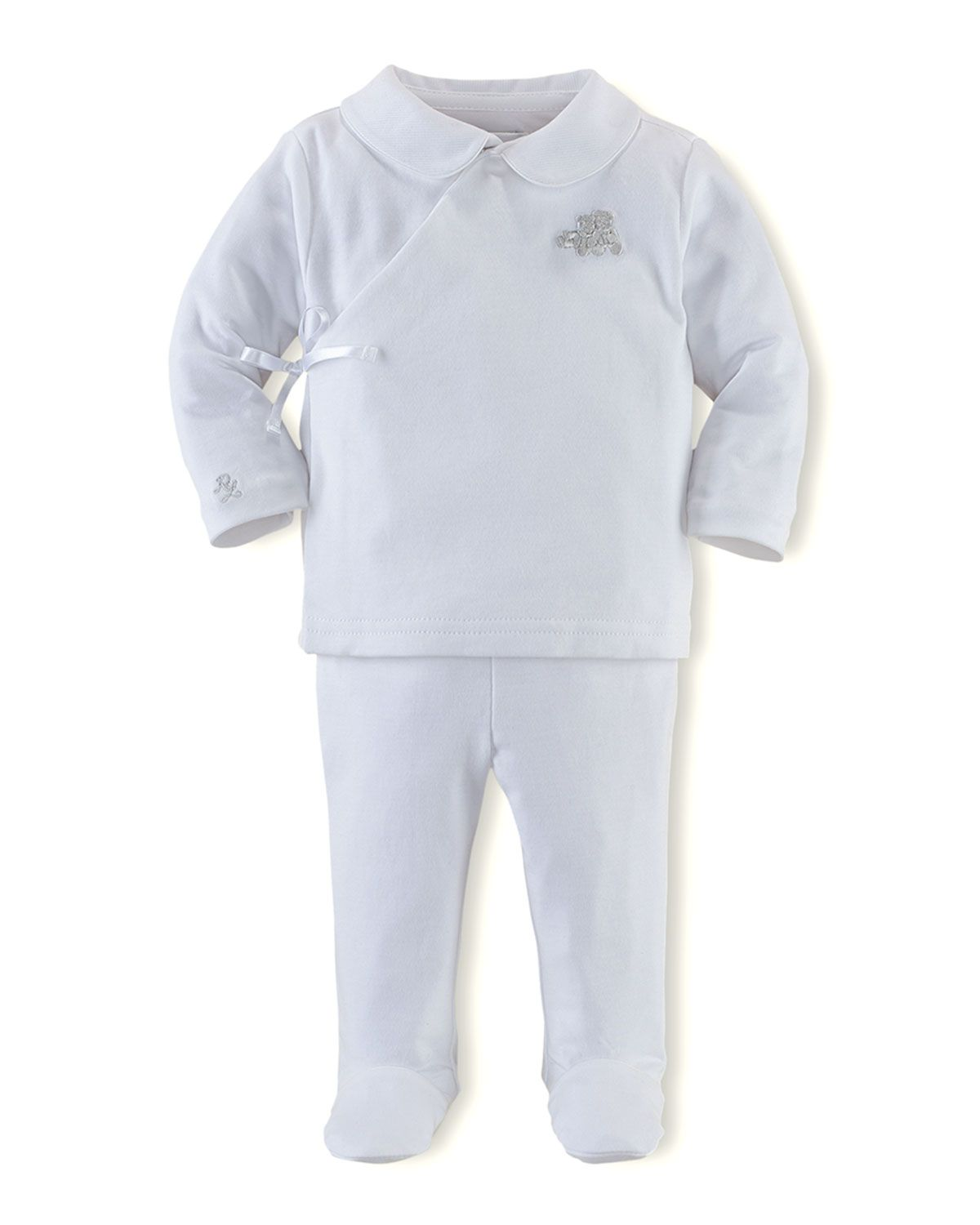 Wrap-Top & Pant Set, White, 3-9 Months