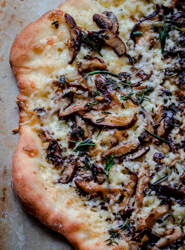 Photo of Mushroom Pizza with Havarti Cheese, Fresh Herbs, and White Truffle Oil – A Beautiful Plate
