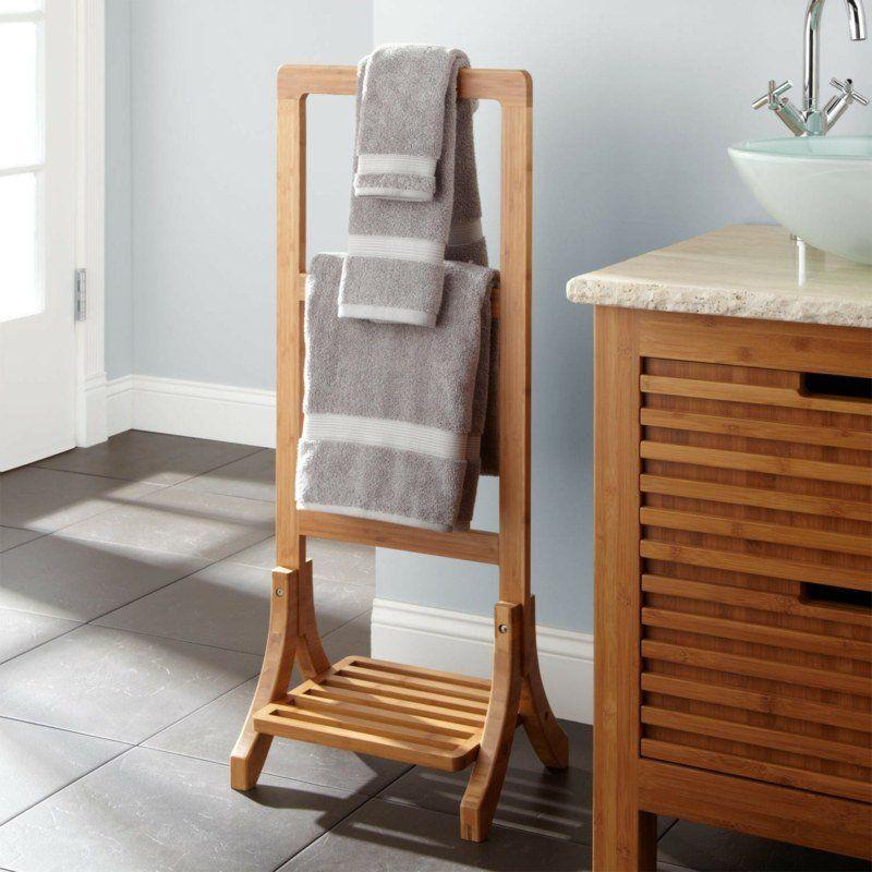 Porte serviette bois mural chelle ou sur pied en 45 for Porte serviette sur pied en bois