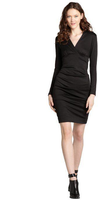 d20c04d1c5a Nicole Miller black ponte v-neck stretch ruched long sleeve dress - little black  dress