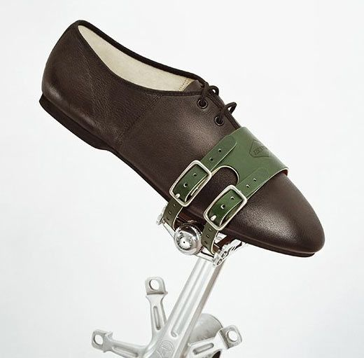 Brown New Atozi Double Leather Strap Bike Bicycle Cycle Pedal Steel Toe Clips