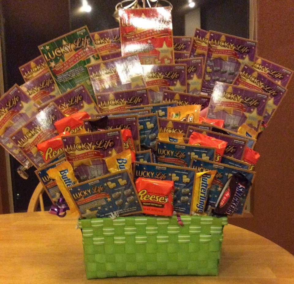 Lucky Life Lottery basket - candy and lottery tickets. | Candy ...