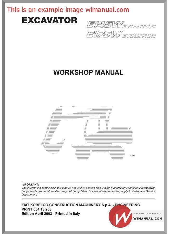 Fiat Kobelco E145w E175w Workshop Manual Fiat Manual Workshop