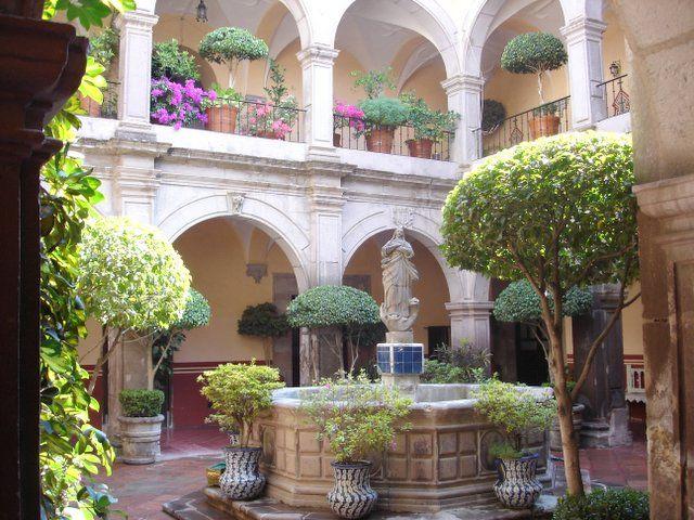 Beautiful Old Courtyard In Queretaro, Mexico