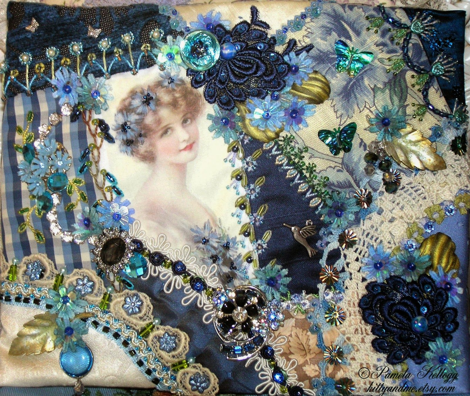 Crazy Quilting and Embroidery Blog by Pamela Kellogg of Kitty and Me Designs: Lady In Blue Crazy Quilt Purse