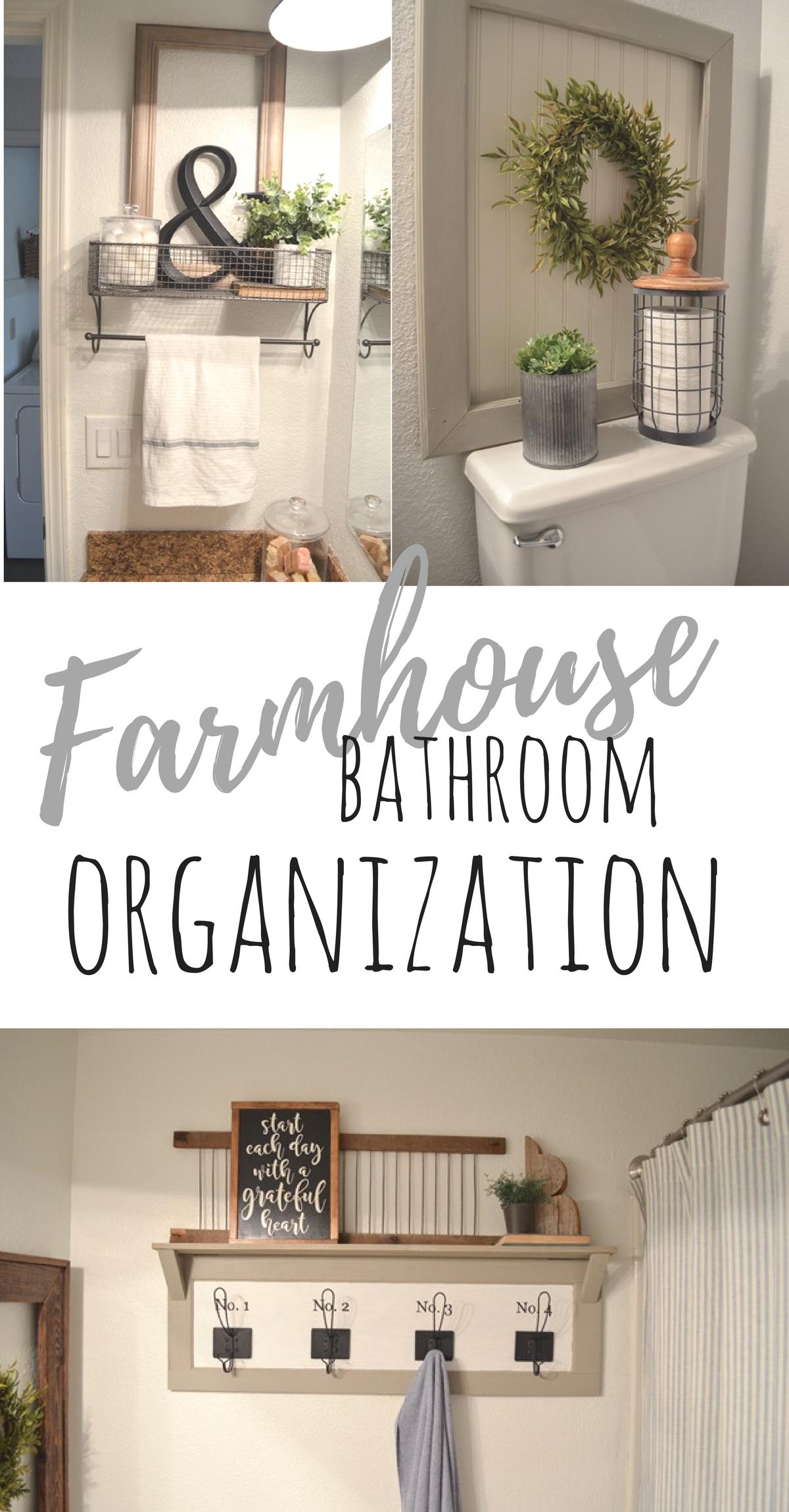 farmhouse bathroom organization | bathroom organization, bathroom