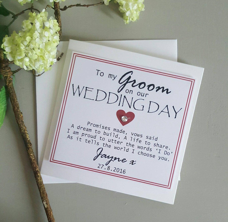Groom Wedding Day Card Personalised Keepsake Card On Our
