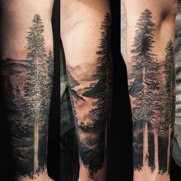 Black And White Forest Forearm Tattoo