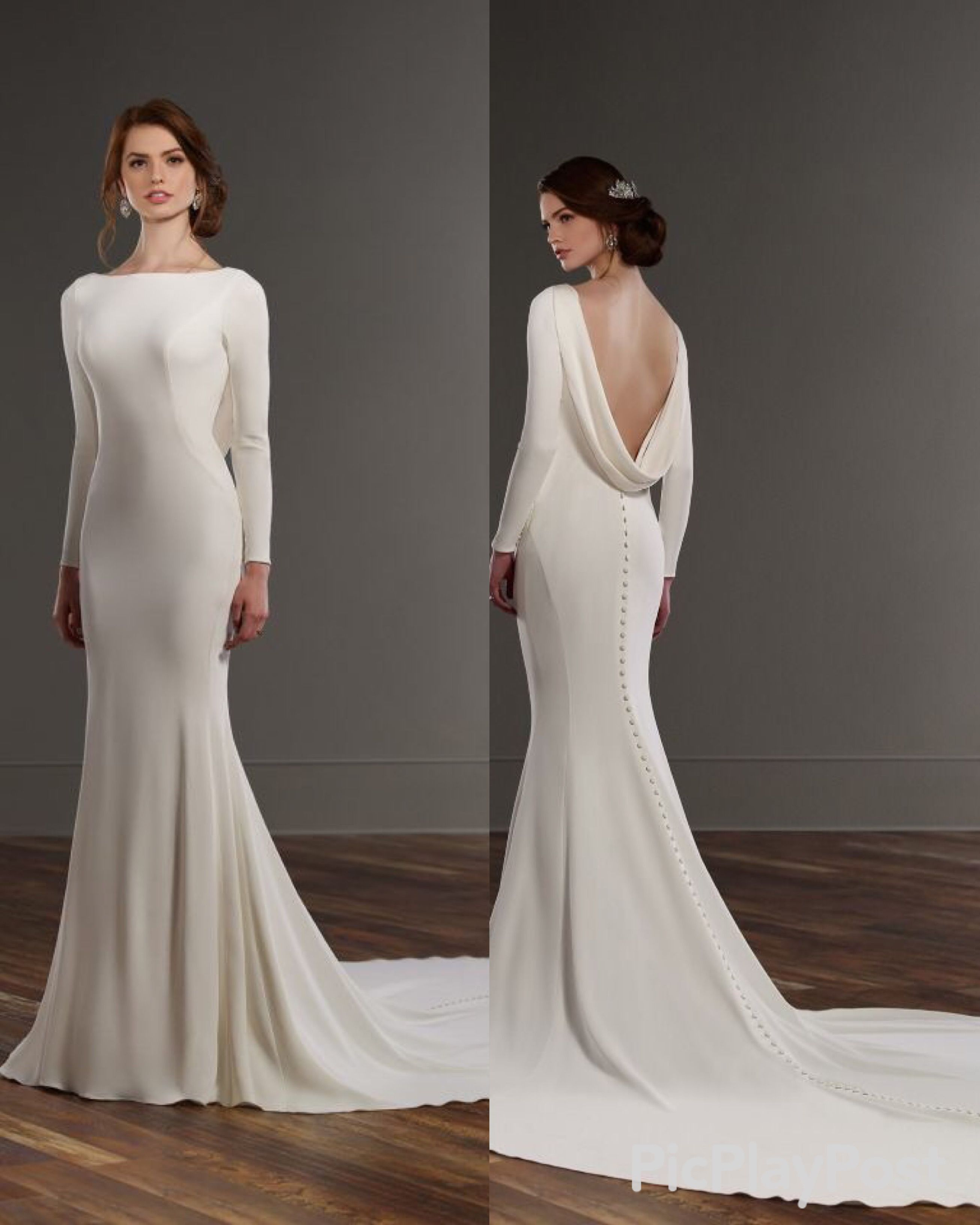 Vintage wedding dresses with sleeves  Long sleeve crepe wedding dress cowl draped back  suknie