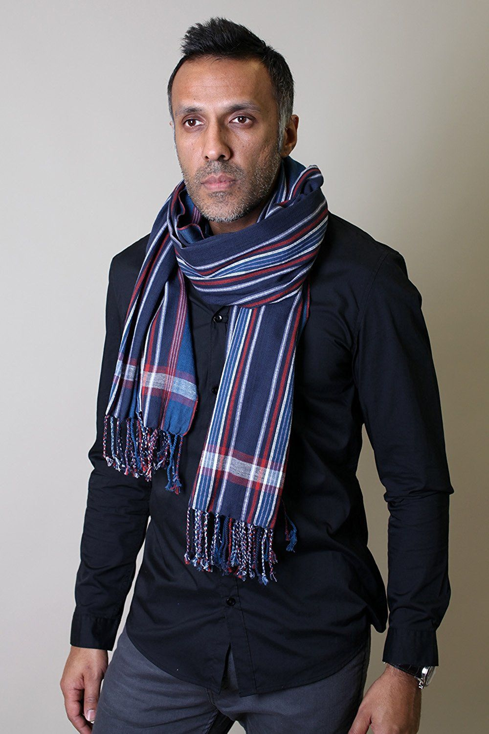 Blue flannel outfits for guys  Menus George Modern Multicolor Stripe Scarf Blue at Amazon Menus