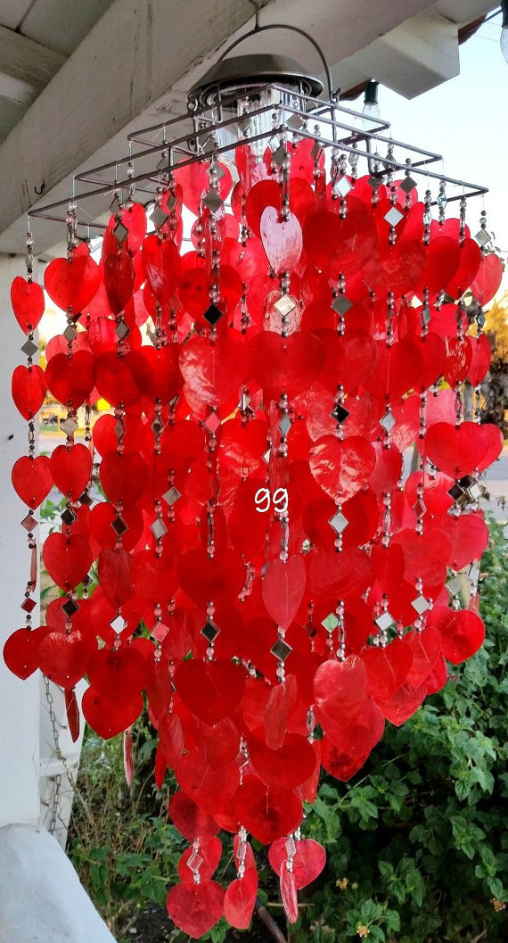 Solar Capiz Shell Windchimes/Chandelier Red Heart Capiz Chimes With Solar Light-SQUARE
