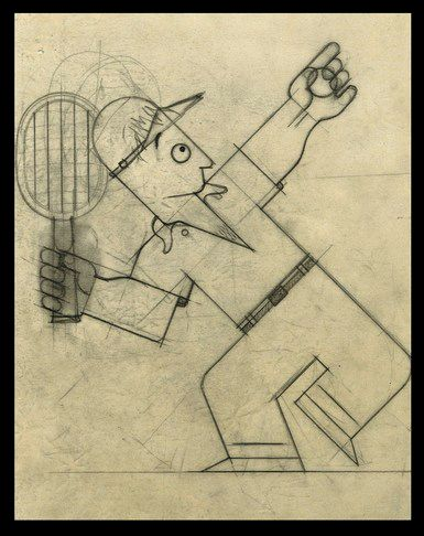 More sketches of Cassandre's Dubonnet Man, c. 1930. Look for all the angles that match something else within the same drawing. Cassandre is quite amazing. When he violates the geometric system, the...