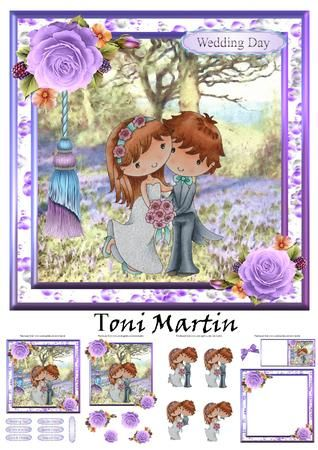 Bride /& Groom Wedding Topper /& Decoupage by Toni Martin