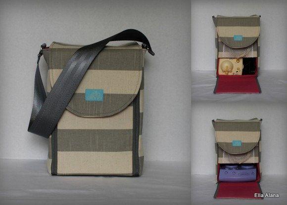 93d0901e5141a Half size Alana style Breast Pump Bag in Gray Stripe print by ...