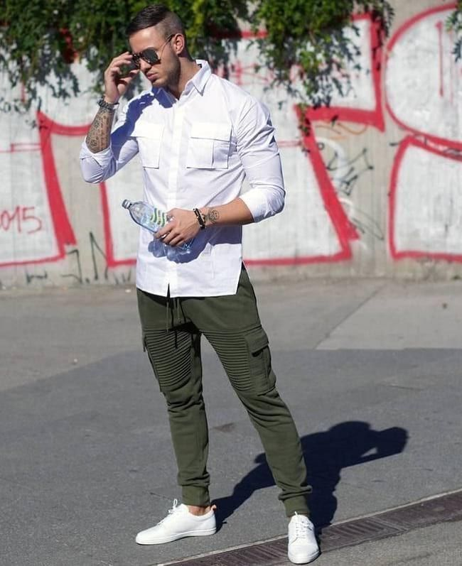 d1da6e5cba20 White Shirt With Olive Green Jogger Pant Combination For Casual Look ...