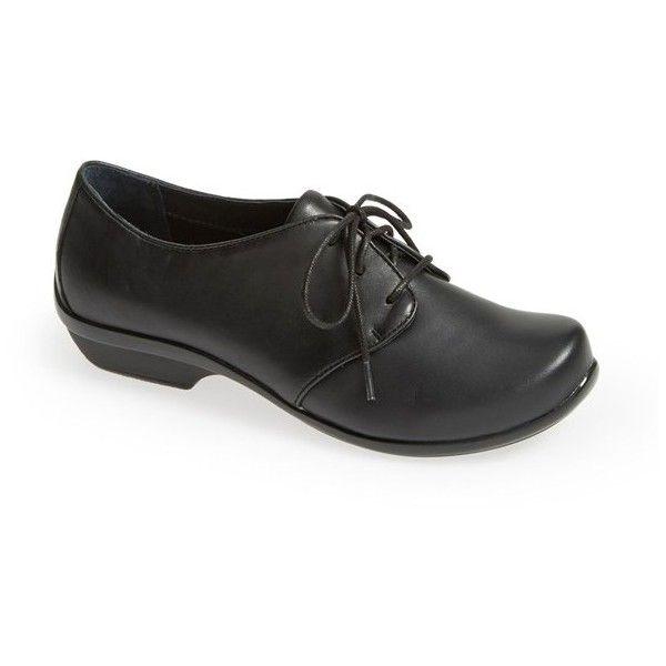 "Dansko 'Olive' Lace-Up Flat, 1"" heel ($145) ❤ liked on Polyvore featuring shoes, olive shoes, platform shoes, short heel shoes, small heel shoes and lace up shoes"