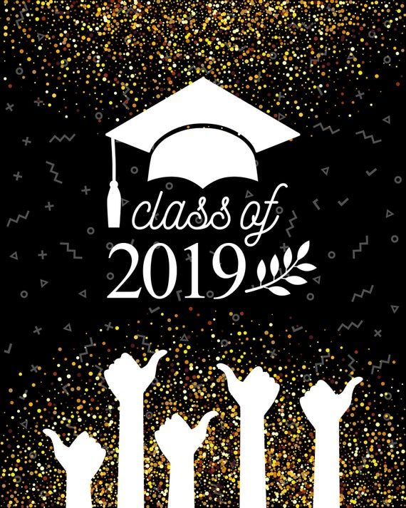 Photo of Graduation Class Of 2019 Banner Golden Black Photography Backdrops Hat and Thumbs Up Photo Backgrounds for Students Studio Props