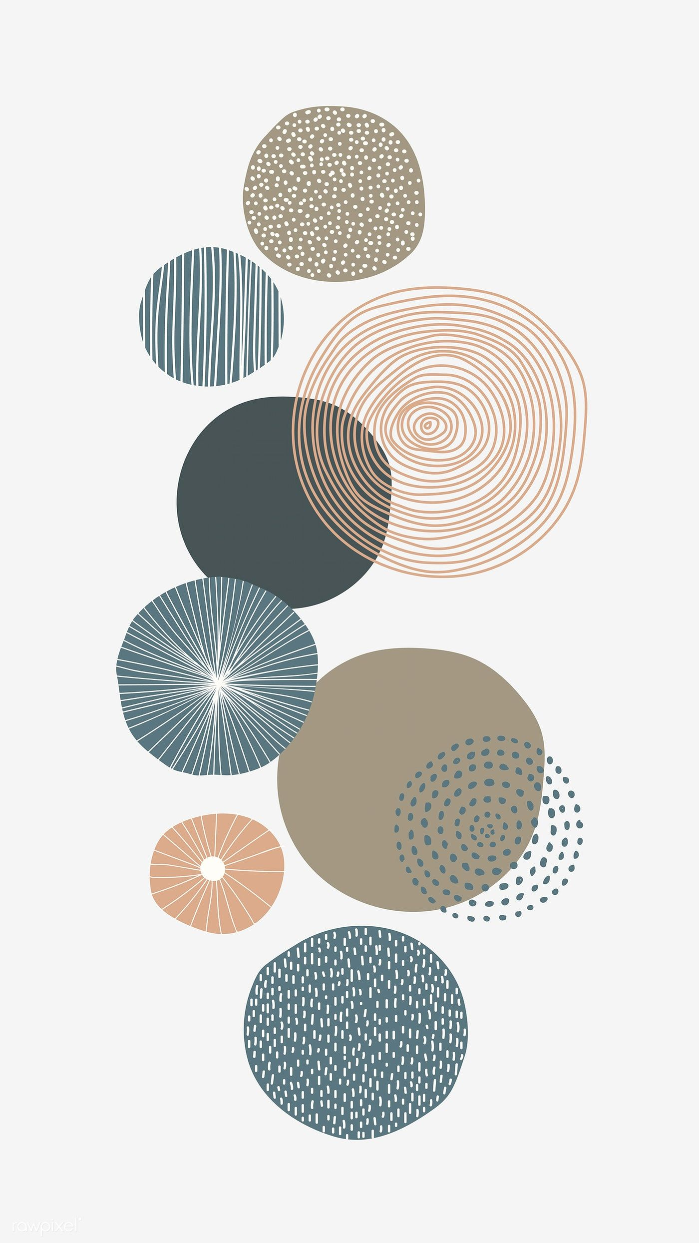 Download premium vector of Round patterned doodle background vector 844910