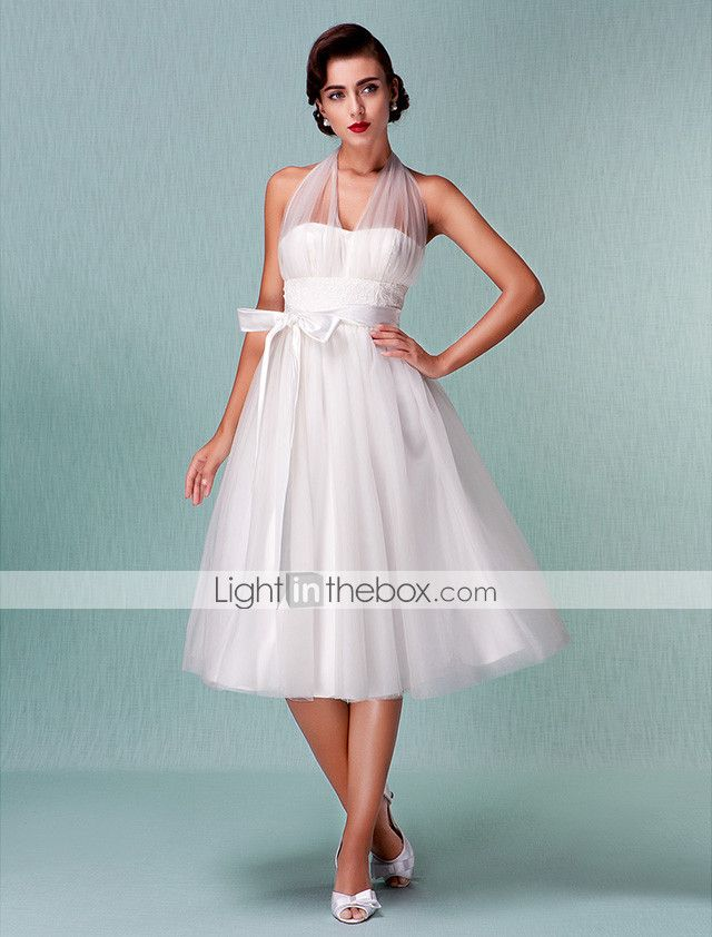 A-Line Halter Neck Knee Length Satin / Tulle Made-To-Meature Wedding ...