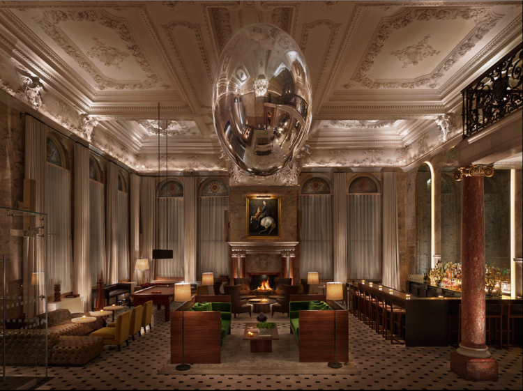 """""""Basement"""" at The London Edition Hotel. Arched windows, ornate ceiling, scale of room."""