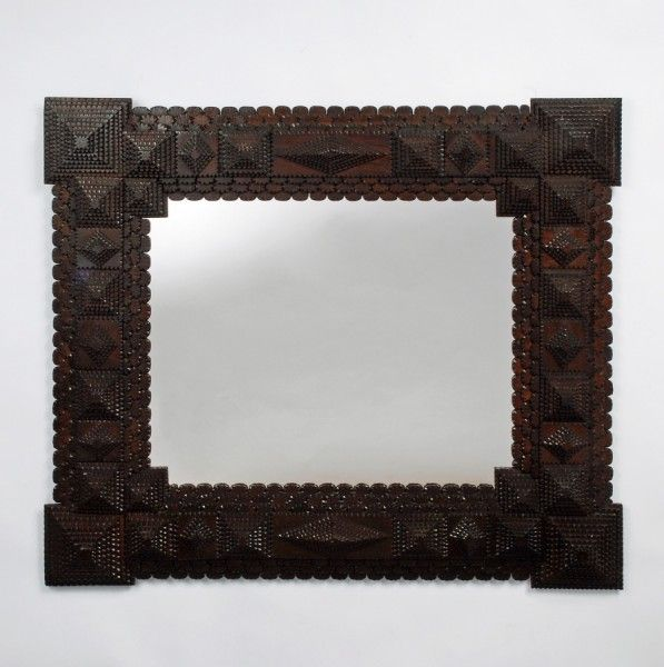 Tramp Art Mirror with Scalloped Edges